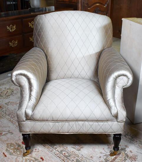 Contemporary Neutral Green-Gray Sateen Finish Upholstered Armchair, Brass Caster Feet