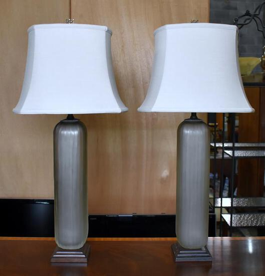 Pair of Contemporary Satin Glass Columnar Form Table Lamps w/ Canterbury RoseArt Shades