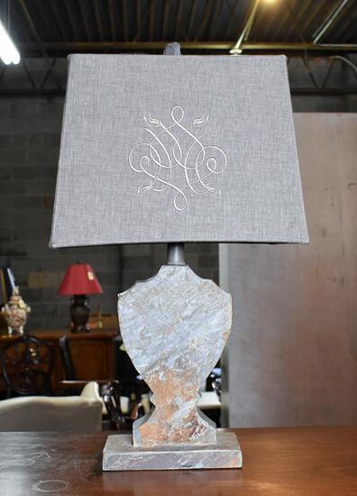 Contemporary Barbara Cosgrove Neutral Slate Stone Lamp