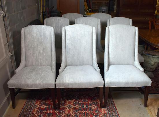 Set of Eight Stylish Contemporary Bernhardt Slope Arm Dining Chairs w/ Custom Neutral Upholstery