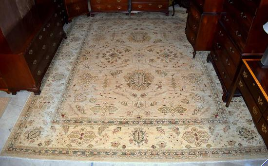 """Exceptional Pakistani Hand Knotted Peshawar Wool Rug, 11' 10"""" x 17' 9"""", Neutral Colors"""