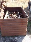 Metal Container with Lots of New & Used P.T.O. Shafts and Yokes