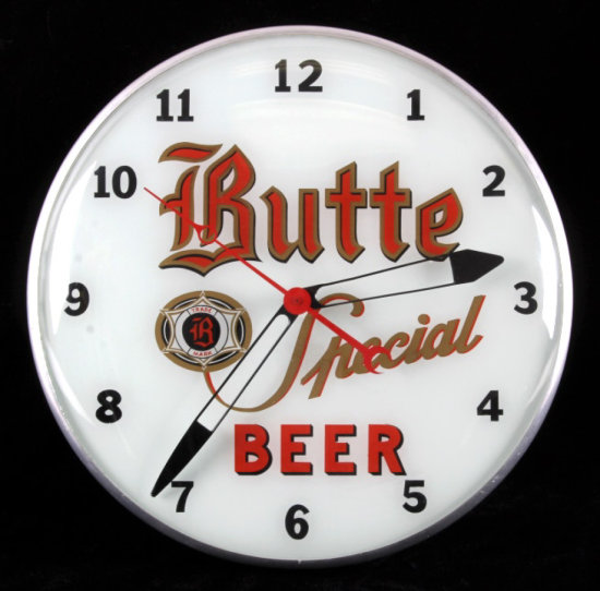 Butte Special Beer Advertising Clock from Montana