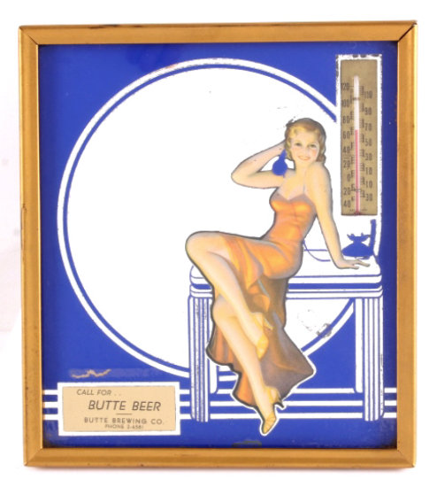 Butte Brewing Co. Advertising Thermometer Mirror