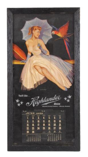 1958 Highlander Beer Calendar Missoula Montana