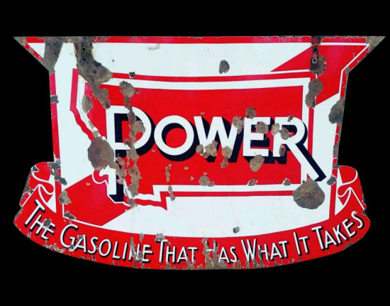 Montana Power Gasoline Double Sided Porcelain Sign
