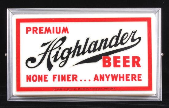 Highlander Beer Lighted Advertising Sign