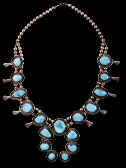 Navajo Bisbee Turquoise & Sterling Squash Blossom