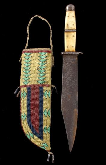 Sioux Beaded Sheath & Bowie Knife 19th C.