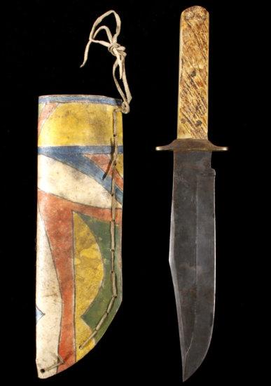 Sioux Parfleche Polychrome Sheath & Bowie Knife
