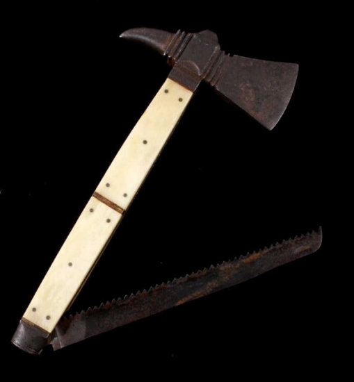 Early American Trade Axe Spiked Tomahawk with Saw