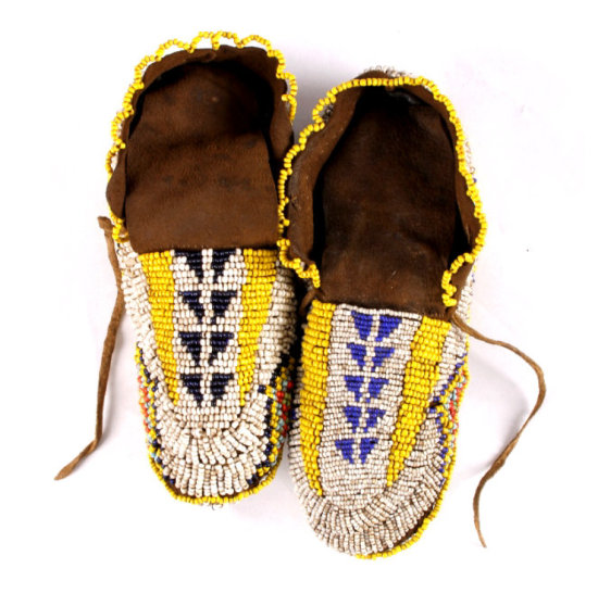 Early Sioux Fully Beaded Ceremonial Moccasins