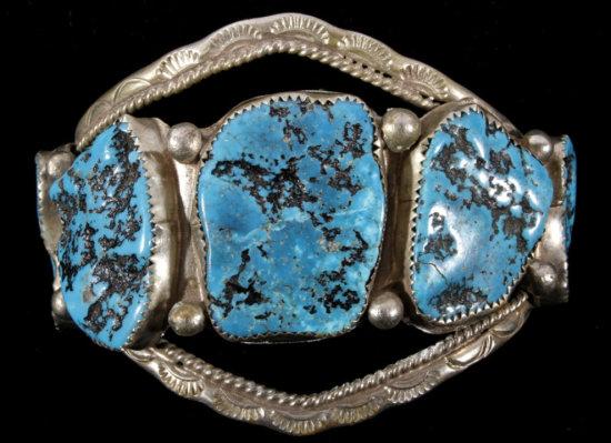 Navajo Turquoise Nugget Silver Bracelet