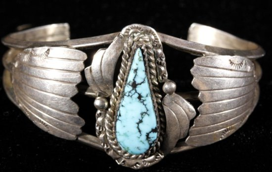Navajo Signed Sterling Silver And Turquoise Cuff