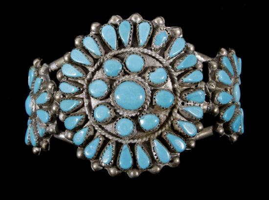 Navajo Petit Point Turquoise & Silver Bracelet