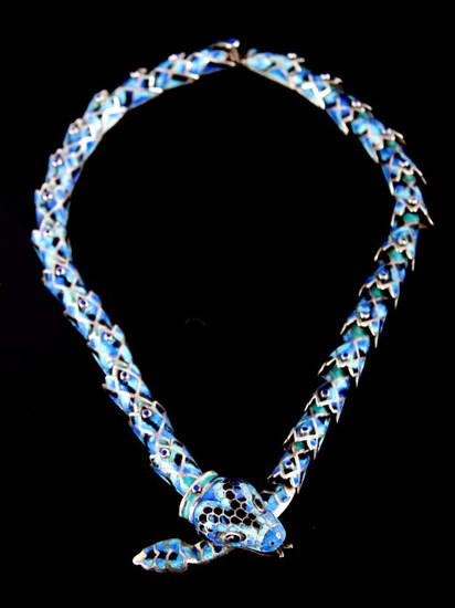Margot de Taxco Blue Enamel Snake Necklace