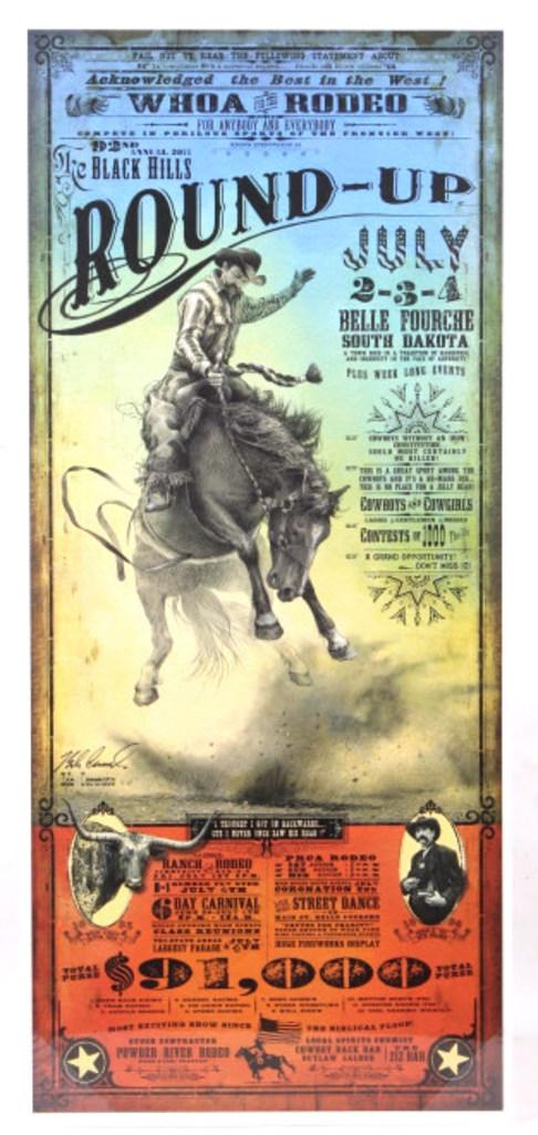 Black Hills Round-up Rodeo Poster Bob Coronato