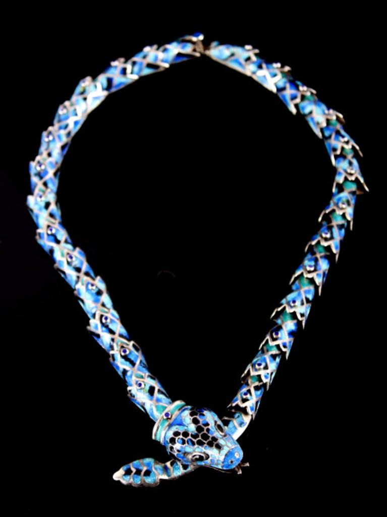 Margot de Taxco Blue Enamel Snake Necklace