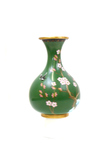 Green Chinese Cherry Blossom Cloisonne Vase