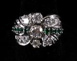 Pre-1920 Art Deco Diamond & Emerald 14K Gold Ring