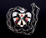 Zuni Mosaic Inlay Thunderbird Silver Necklace