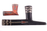 Lakota Sioux & Ojibwa Pewter Inlaid Pipes 19th C.
