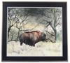 Original Signed Watercolor Buffalo Painting