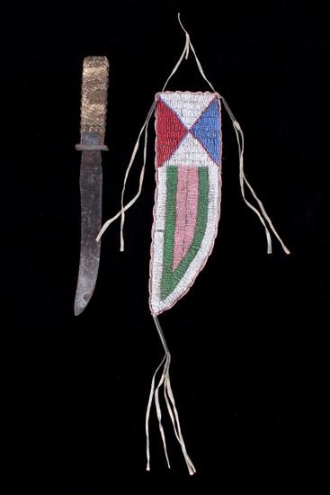 Wyoming Arapaho Beaded Sheath & Trade Knife 19th C