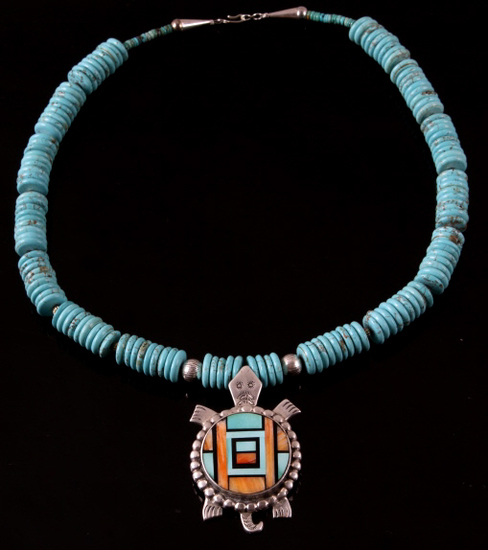 Navajo F. Yellowhorse Discoidal Turquoise Necklace