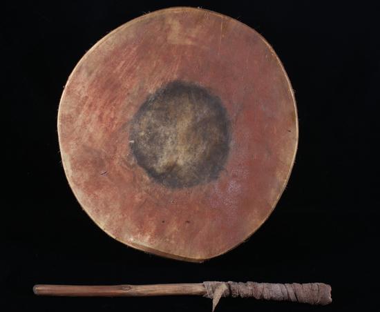 Flathead Polychrome Painted Parfleche Drum 19th C.