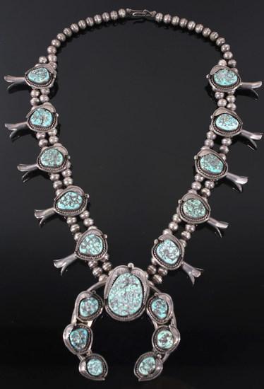 Navajo Kingman Spiderweb Turquoise Squash Blossom