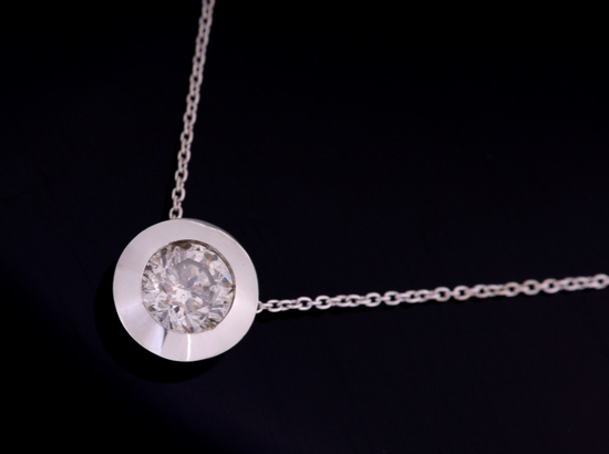 1930-1940's 1.03 carat Platinum Pendant Necklace