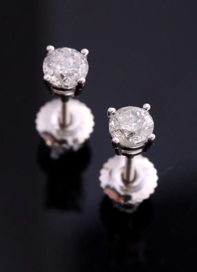 Vintage Estate Diamond & 18K Gold Stud Earrings