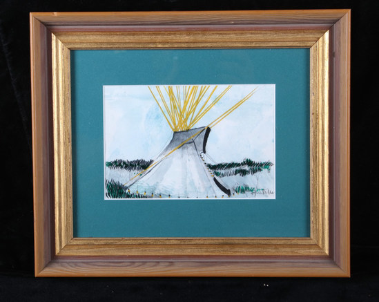 Original Kevin Red Star Buffalo Tipi Painting RARE