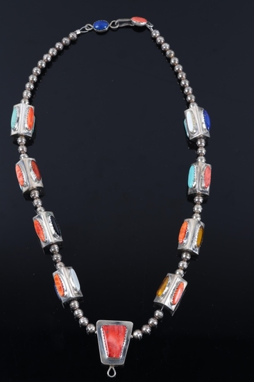 Santa Domingo Matt C. Multistone Silver Necklace