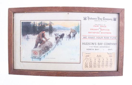 Hudson Bay Company Advertisement Calendar c. 1929