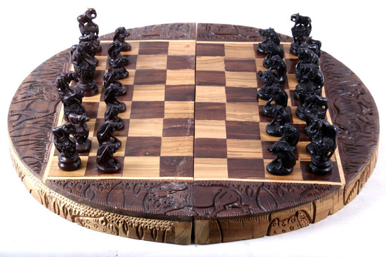 Zambian Hand Carved Chess Board & Pieces