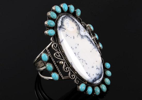 Navajo White Moss Agate & Turquoise Bracelet