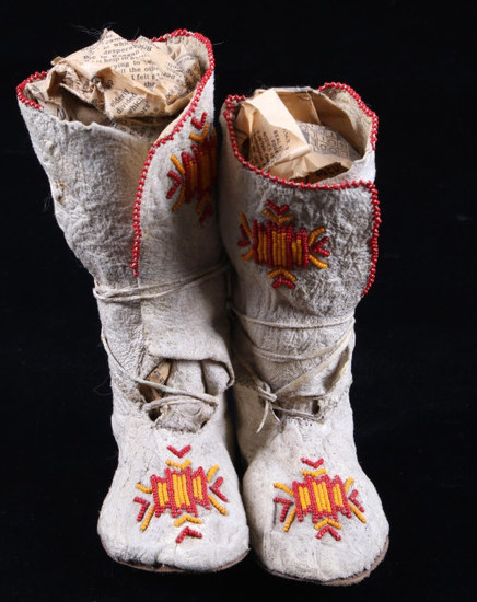 Crow Beaded High-Top Child's Moccasins c.1890-1900