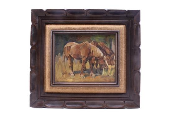 Schildt, Gary (1938-) Horses Feeding Oil Painting