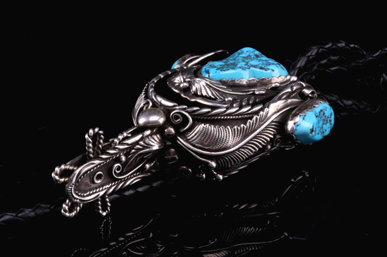 Navajo Spur Sterling & Turquoise Bolo Tie RARE