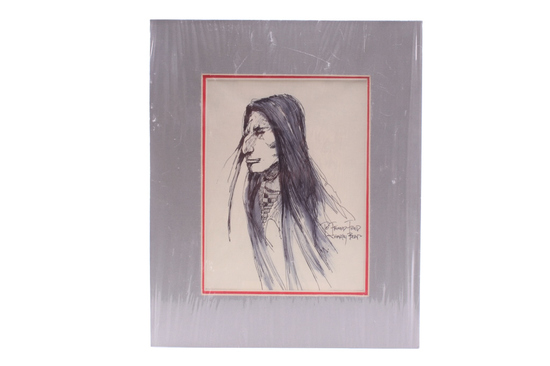 Charley Bear (1950 -) Ink & Pen Native Man Artwork