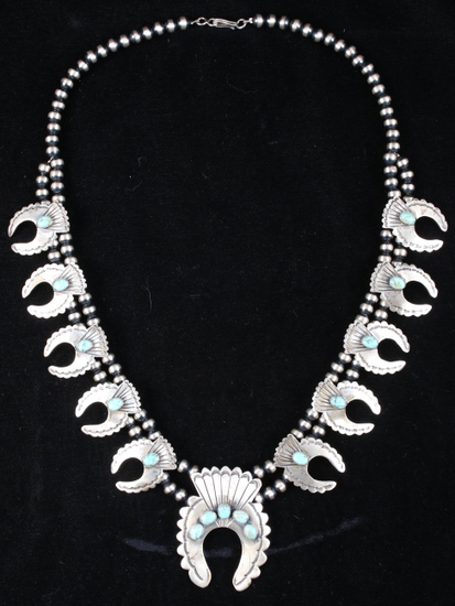 AMAZING Navajo Squash Blossom Large Necklace