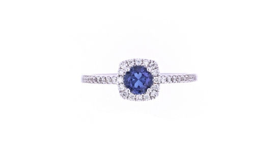 Blue Sapphire & Diamond 14k White Gold Ring
