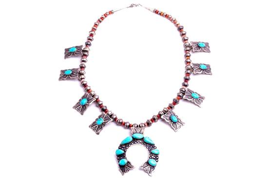 Navajo Kingman Turquoise Coral Squash  S.C. LARGE