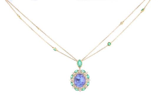 Tanzanite Emerald & Diamond 18k Gold Necklace