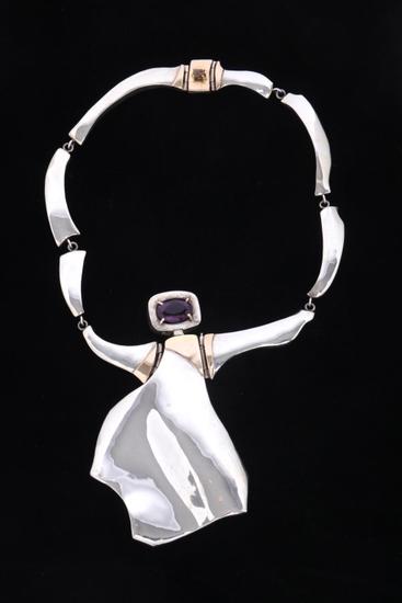 Elegant Lady Amethyst 10K & 925 Necklace by C.C.