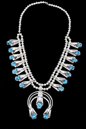Navajo L. Yazzie Silver & Turquoise Squash Blossom