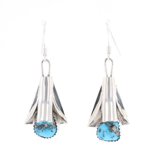 Navajo L. Yazzie Sterling Silver Squash Earrings