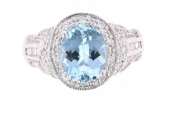 Art Deco Aquamarine Diamond & 14k Gold Ring